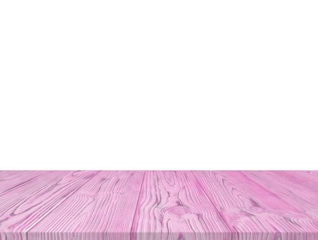 Dessus de table texturé en bois violet isolé sur fond blanc