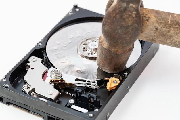 Destruction, suppression de données, informations sur un disque dur avec marteau