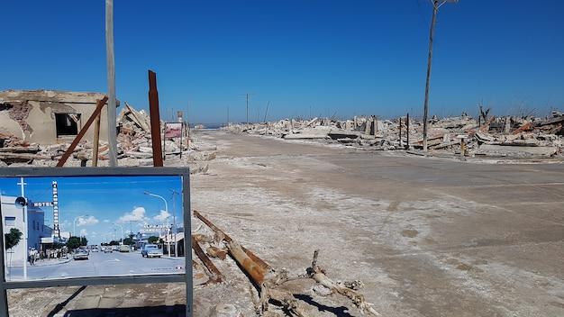 La destruction urbaine, l'avant et l'après.
