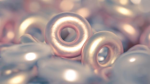 Détail de l'anneau de fond en métal. illustration 3d, rendu 3d.