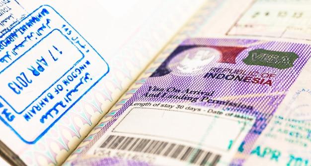 Détail du visa indonésien 2014 sur passeport