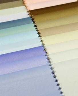 Détail des échantillons de texture de tissu de couleur