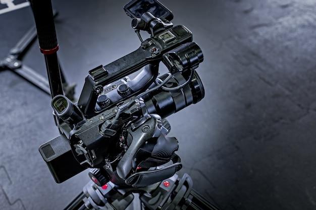 Détail de l'équipement de caméra professionnel, studio de production cinématographique