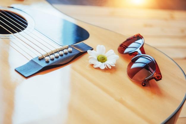 Détail de guitare classique avec faible profondeur de champ