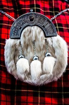 Détail d'un kilt écossais, monument typique