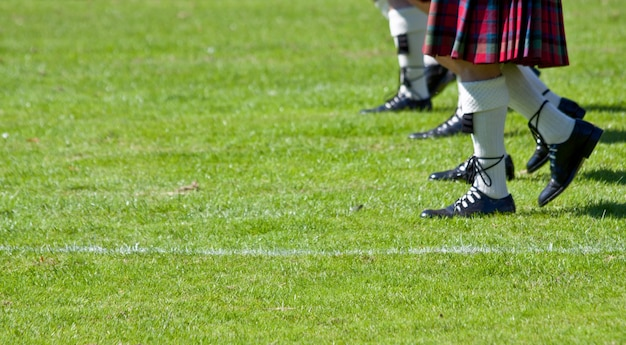 Détail des kilts écossais originaux, pendant les jeux des highlands