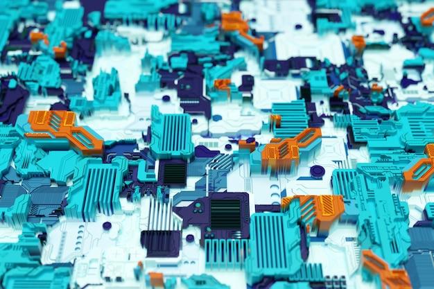 Détail d'une machine futuriste. illustration 3d d'un mur futuriste composé de divers détails. fond de cyberpunk. papier peint industriel. détails grunge