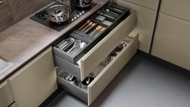 Détail de meubles de cuisine gros plan