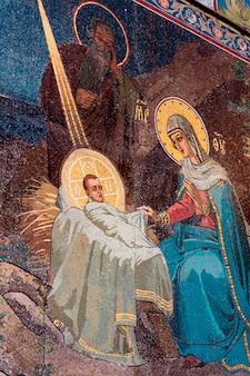 Détail d'une mosaïque dans l'église du sauveur sur le sang versé, saint-pétersbourg, russie