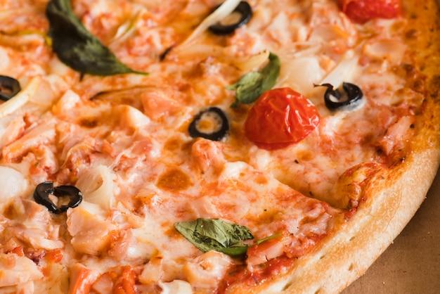Détail de la pizza vue du dessus