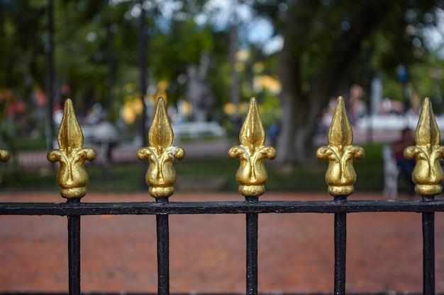 Détail des pointes dorées d'une porte entourant le parc de la piazza di valladolid au mexique
