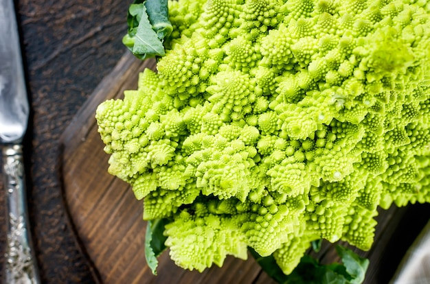 Détail de romanesco vert frais close up
