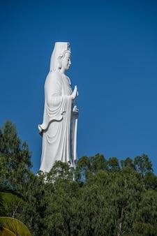 Détail de la statue de lady buddha dans un temple bouddhiste et ciel bleu à danang, vietnam. fermer
