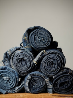 Les détails du tissu blue jeans