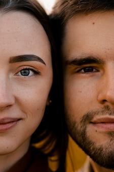 Détails du visage de couple gros plan