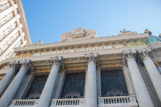 Détails de la façade du théâtre municipal dans le centre de rio de janeiro brésil.