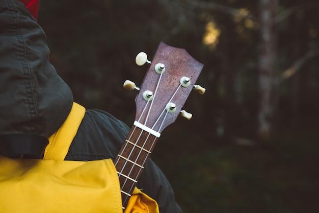 Détails de la guitare du sac à dos