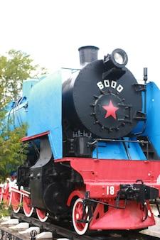 Détails des pièces métalliques de l'ancien train de chemin de fer vintage