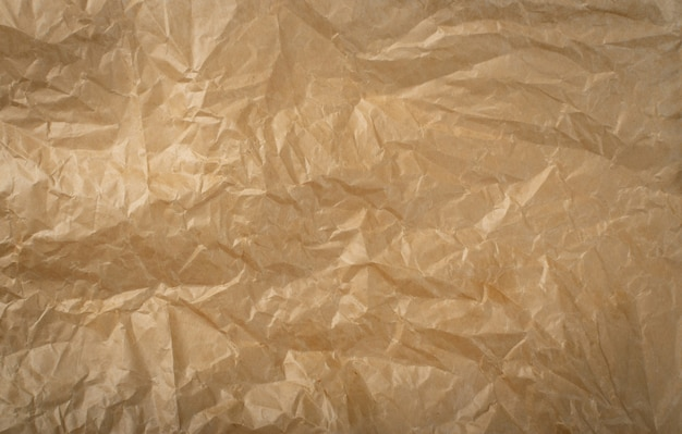 Détails de la texture du papier d'emballage froissé
