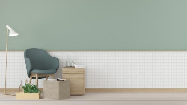 Détendez-vous l'espace intérieur et la décoration murale vide dans l'appartement - rendu 3d