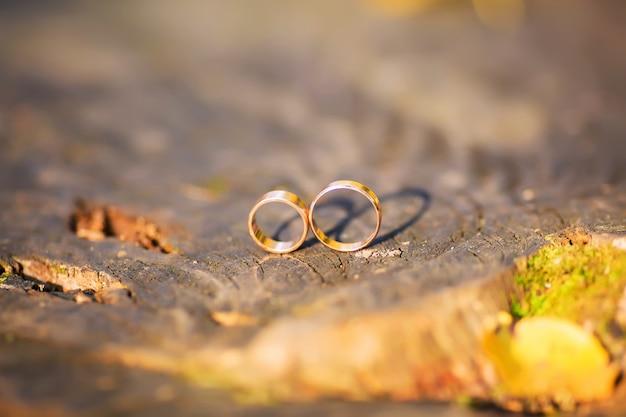 Deux anneaux de mariage en signe d'infini. concept d'amour.