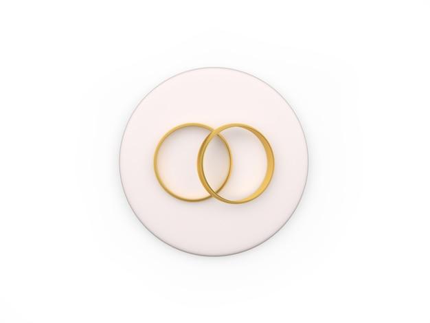 Deux anneaux de mariage sur un support rond