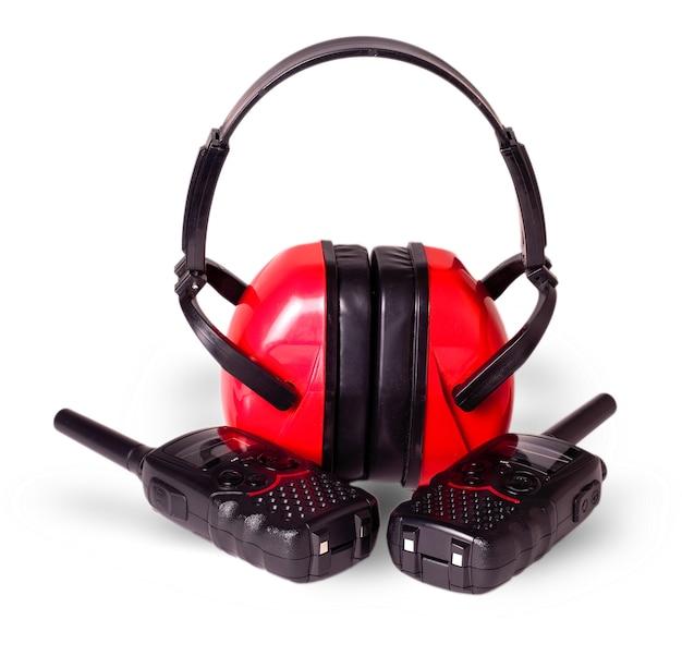 Deux antennes talkie-walkie noires cache-oreilles rouges