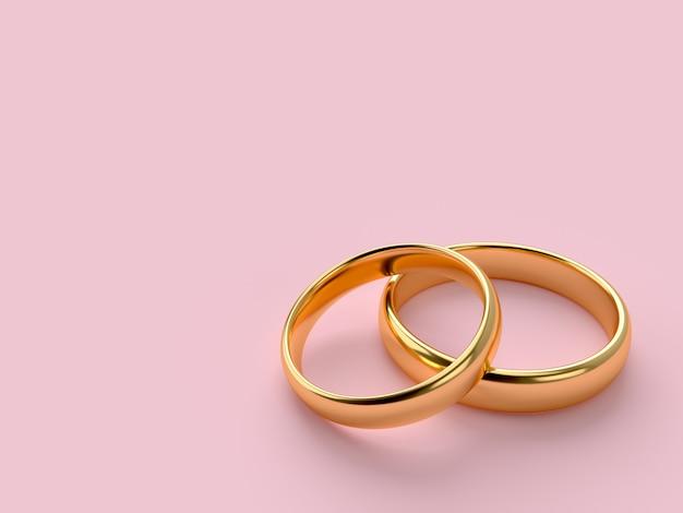 Deux bagues en or de mariage avec espace vide