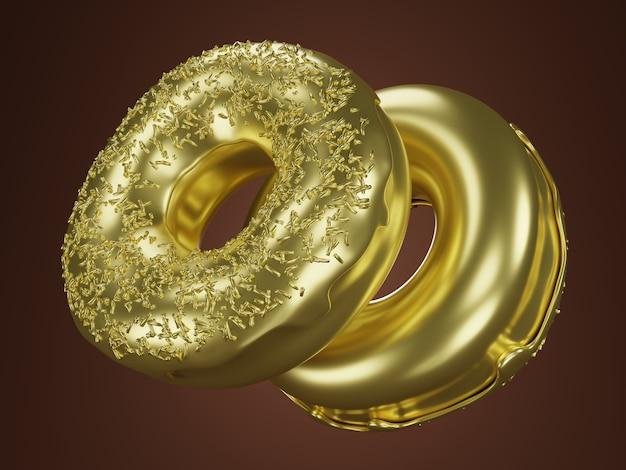 Deux beignets d'or avec des paillettes. concept riche. illustration de rendu 3d.