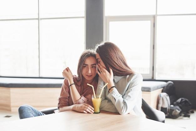 Deux belles filles jumelles passent du temps à boire du jus.