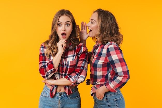 Deux belles jeunes filles portant une chemise à carreaux parlant de commérages ou de secrets isolés