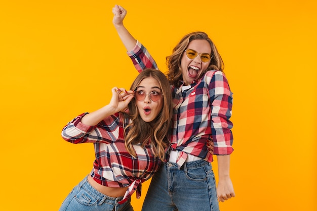 Deux belles jeunes filles portant des chemises à carreaux souriant et s'amusant isolés