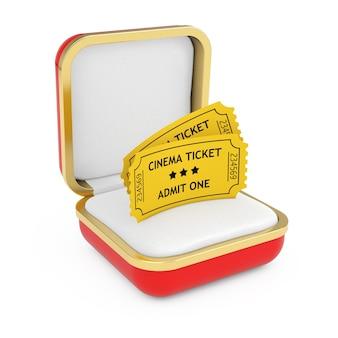 Deux billets de cinéma jaune dans la boîte cadeau rouge sur fond blanc. rendu 3d