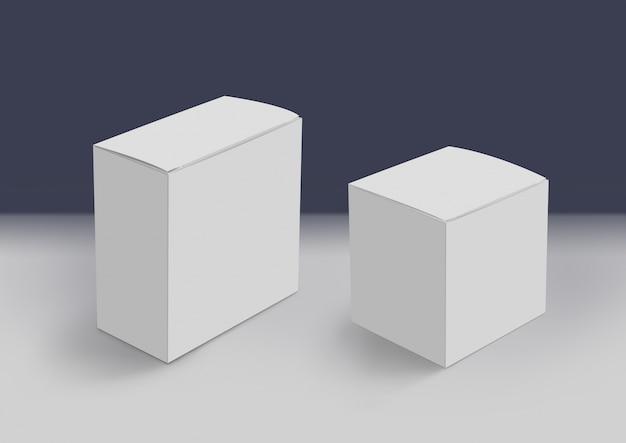 Deux boîtes blanches 3d au sol