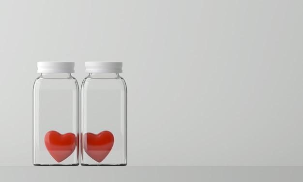 Deux bouteilles avec un coeur rouge à l'intérieur sur fond blanc.