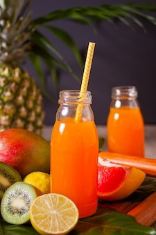 Deux bouteilles de jus multifruit exotique tropical sous une feuille de palmier avec des fruits en arrière-plan.