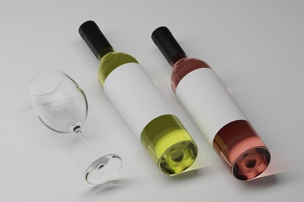 Deux bouteilles de luxe de vigne avec des étiquettes blanches vierges sur blanc
