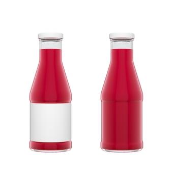 Deux bouteilles en verre transparent avec bouchon blanc et étiquette remplies de jus de baies isolées sur fond blanc. illustration de rendu 3d.