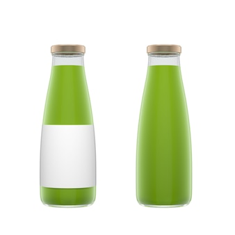 Deux bouteilles en verre transparent avec étiquette remplie de jus de légumes isolés sur fond blanc. illustration de rendu 3d.