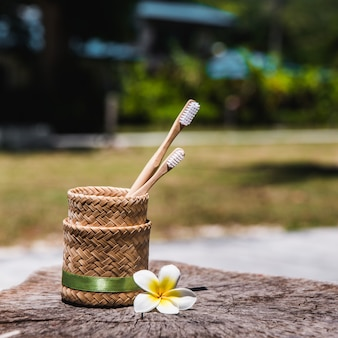 Deux brosses à dents en bois de bambou écologique blanc et jaune dans le support sur le bois