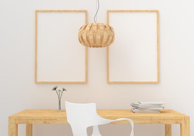 Deux cadre photo vide pour maquette en salle blanche