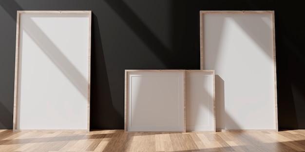 Deux cadres blancs verticaux sur mur noir