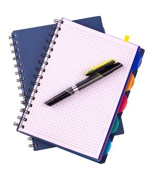 Deux cahiers à spirale bleu et stylo noir