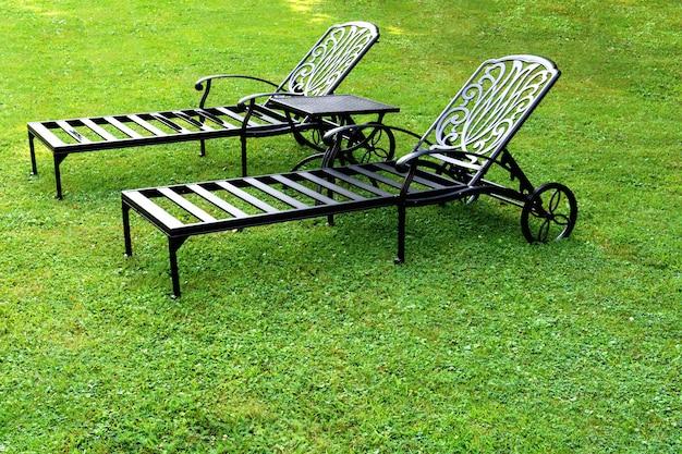 Deux chaises longues sont sur la pelouse du jardin.