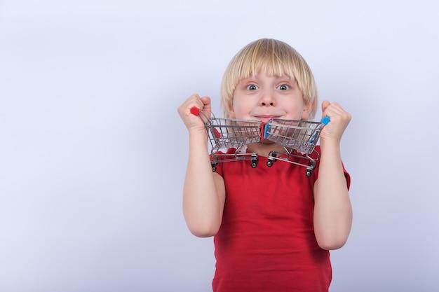 Deux chariot à jouets dans les mains des enfants. garçon jouant avec panier sur fond blanc