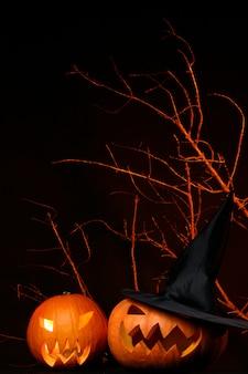 Deux citrouilles d'halloween fraîches sur fond noir