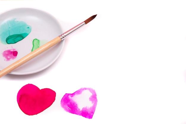 Deux coeurs aquarelles