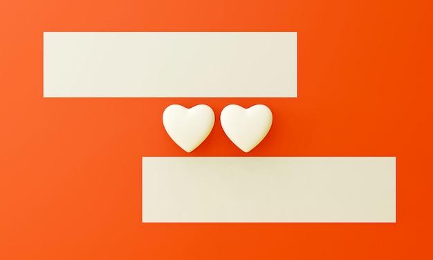 Deux coeurs blancs et deux étiquettes vierges placées sur un fond orange. concept doux de la saint-valentin.