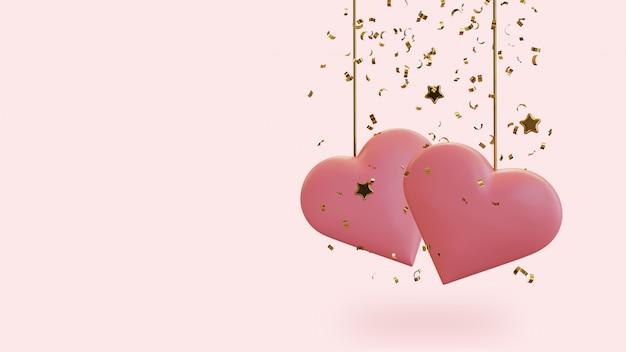 Deux coeurs avec des confettis et des étoiles