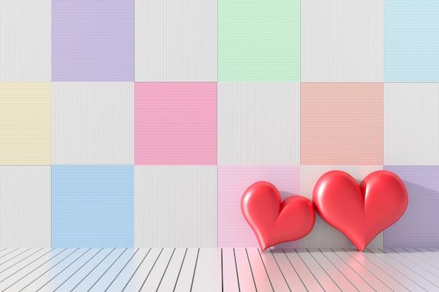 Deux coeurs rouges sur un décor mural en bois avec des couleurs variées. chambres de l'amour le jour de la saint-valentin. 3